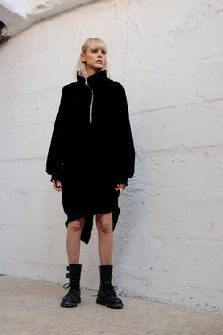 OVERSIZED VELVET SWEATER DRESS