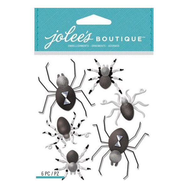 Black and White Metallic Spiders 50-21777