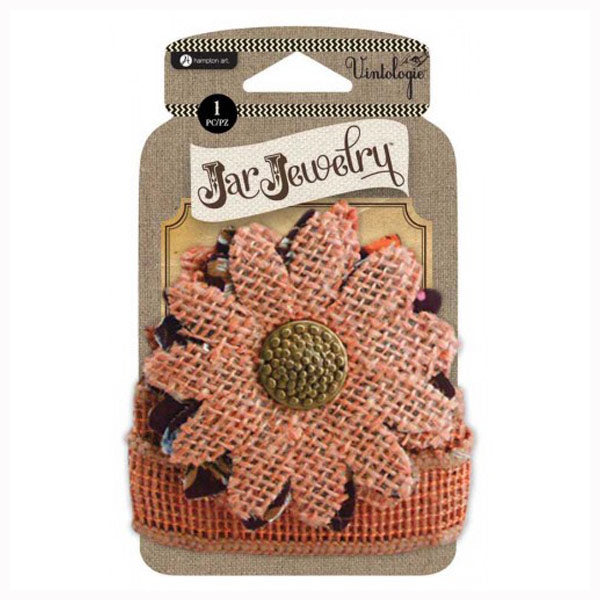 Orange Burlap Flower HA-JJ0059