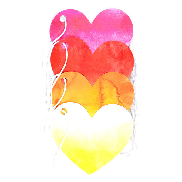 Watercolor Ombre Heart Tags 50-30369