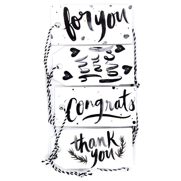 Black and White Brushy Sentiment Tags 50-30398