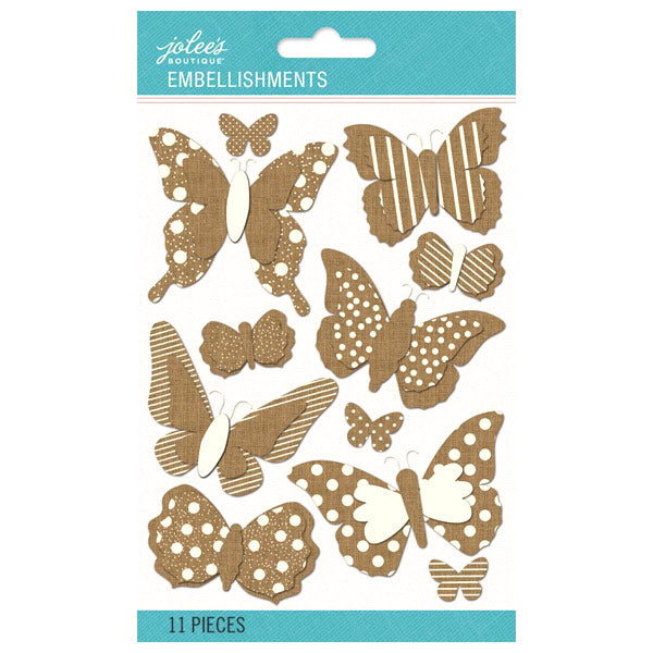 Patterned Dimensional Burlap Butterflies 50-60499
