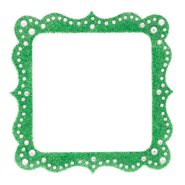 Glitter Bling Artisan Green Square Gem Frame MM-35520