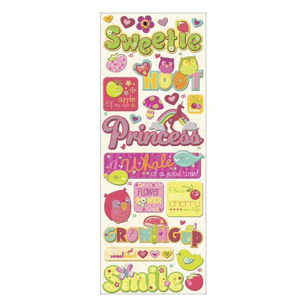 Berry Sweet Words and Icons Adhesive Chipboard KCO-574021