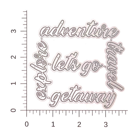Adventure Travel Script Die Cut