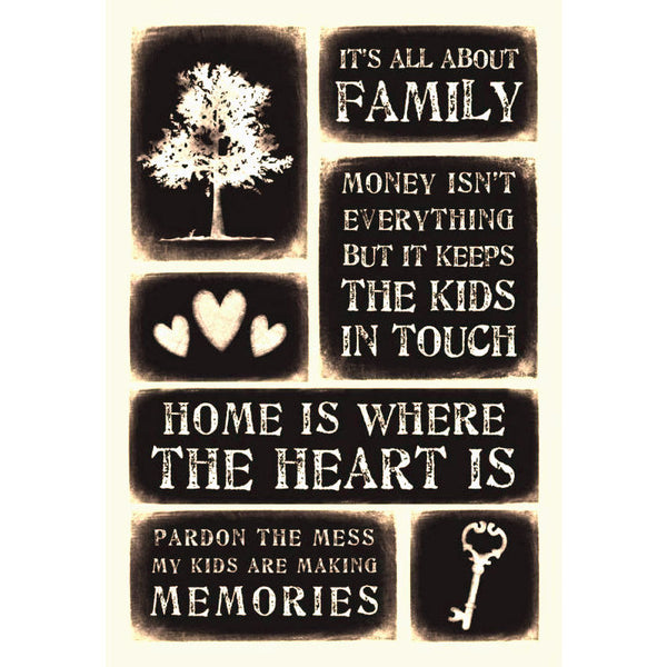 Family Weatherd Message Foam Stickers M-18020