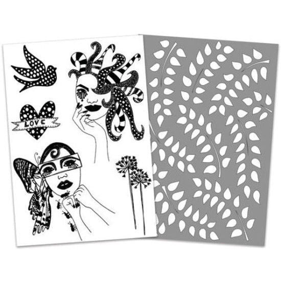 DYLUSIONS CLEAR STAMPS /& STENCIL RANGER FANCY LADY