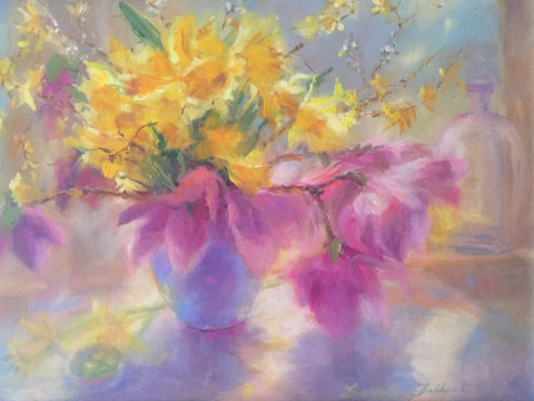 "LOIS VIRGINIA BABB, ""Daffodils and Tulips in Backlight,"" Oil"