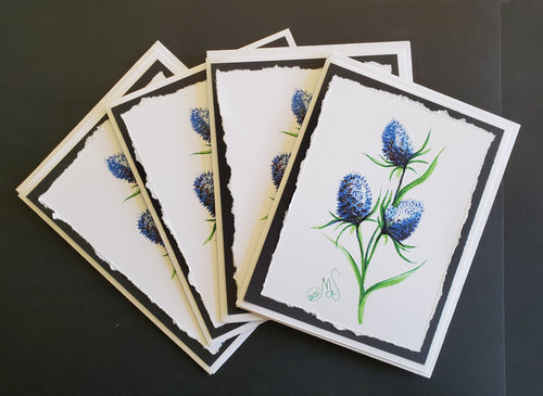 "Handmade ""Thistle"" Art Note Card 4 Pack"