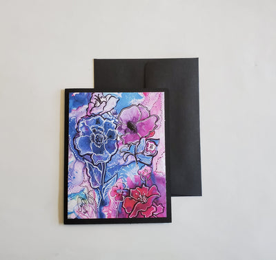 Handmade Note Card 4 Pack (Pink and Blue Floral)