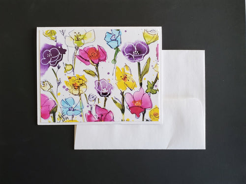Handmade Note Cards Floral 4 Pack (Summer Meadow on white)