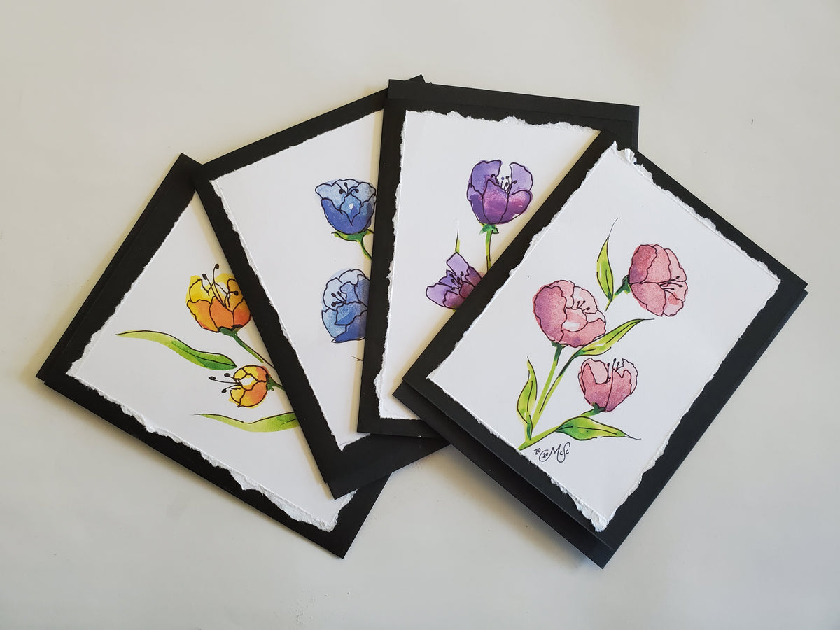 Handmade Floral Watercolor 4 Pack (Pink, Purple, Blue and Yellow Flowers)
