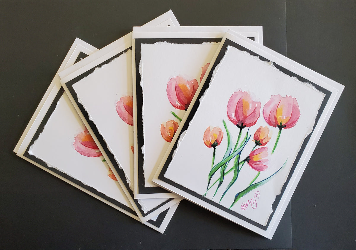 "Handmade ""Tulip"" Art Note Cards 4 Pack"