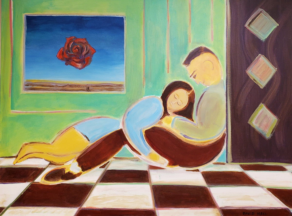 "Love #6 - Couple with ""The Rose"" by David Hall, Original Acrylic Painting"