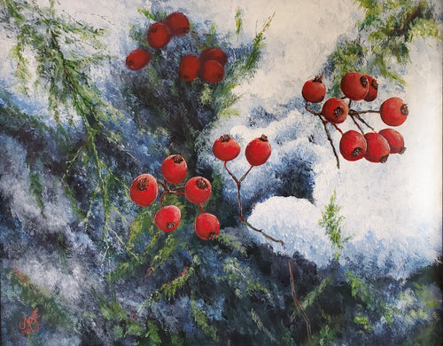 """Winter Berries"" by Selena McColley, Acrylic Painting"
