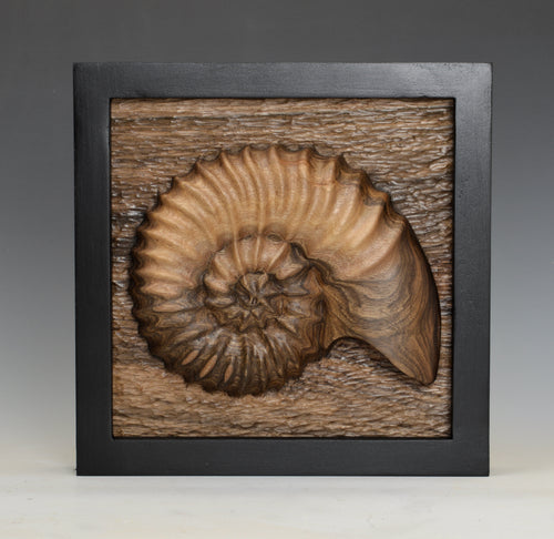 """Ammonite Remembered"" by Bob Rotche - Wood Sculpture"