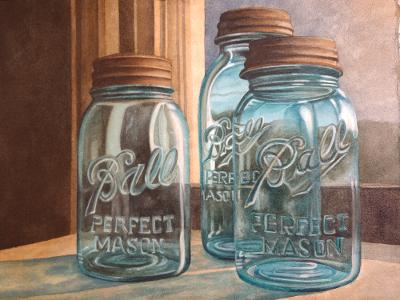 """Blue Balls"" by Lori Sutphin - Watercolor"