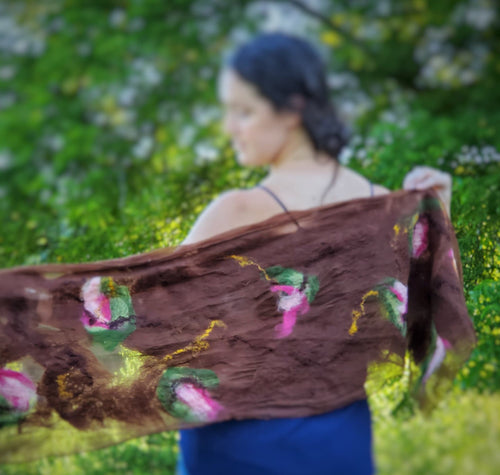 Brown and Pink Felted Scarf by Jenny Traynham - Textile Art