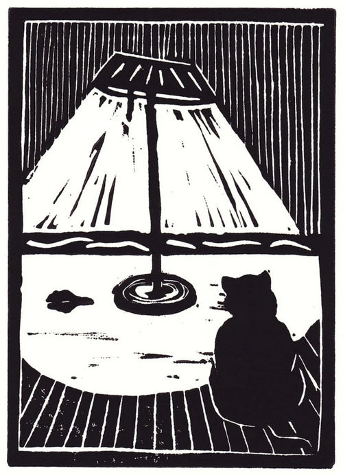 """Cat and Mouse"" by David Hall - Block Print"