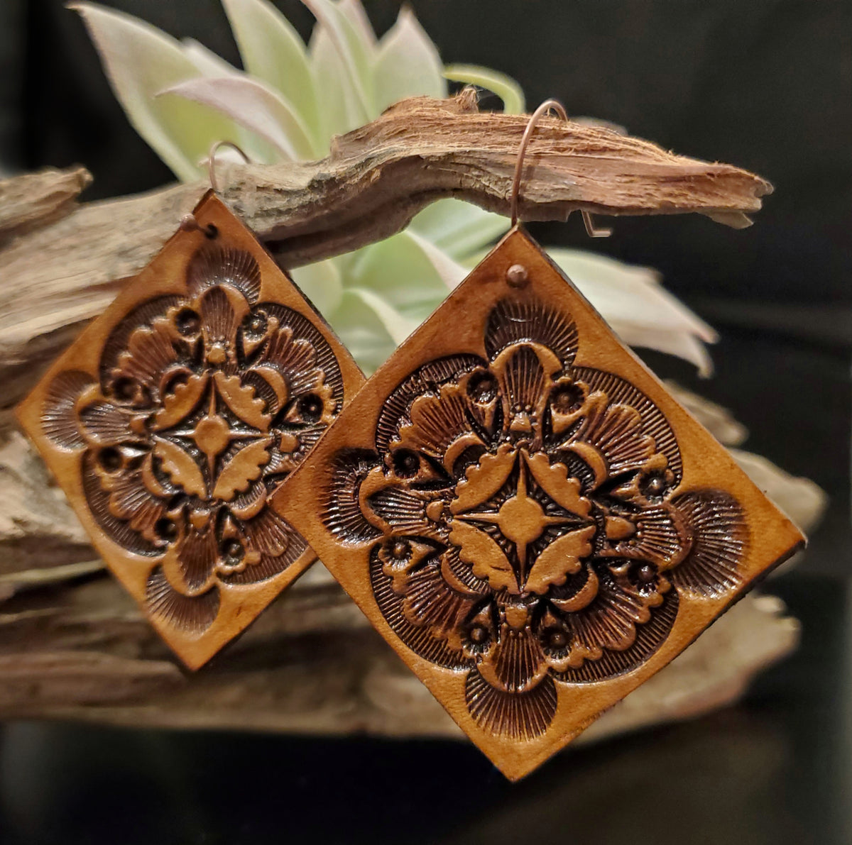 Hand stamped Mandala Inspired Leather Earrings by Selena Doolittle McColley - Jewelry