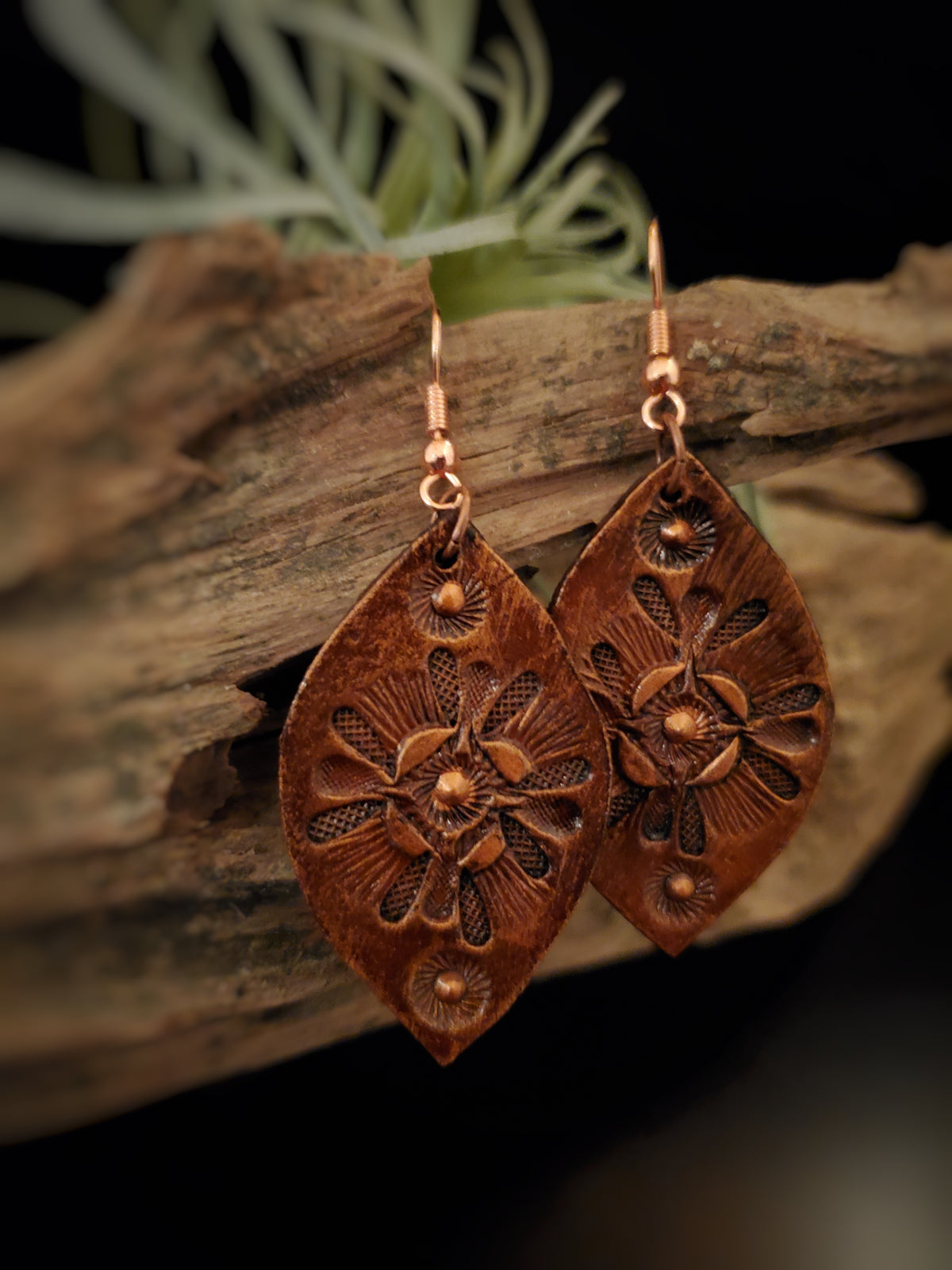 Hand Stamped and Painted Leaf Shaped Earrings by Selena Doolittle McColley - Jewelry