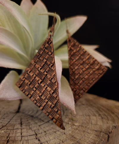Hand Stamped Basketweave Leather Earrings by Selena Doolittle McColley - Jewelry