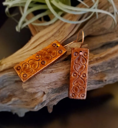Hand Stamped and Painted Leather Bar Earrings with Hearts and Copper Accents by Selena Doolittle McColley