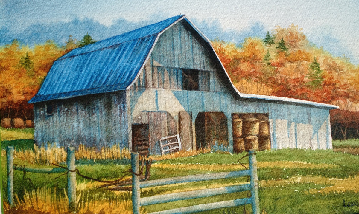 """Blue and Gold"" by Lori Lynne Sutphin, Original Watercolor"