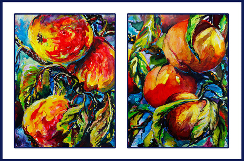"""In Season, Diptych"" by J K (Karen) Phillips Sewell, Acrylic Inks"