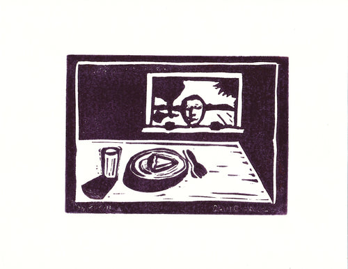 """Looking for Pie"" by David Hall - Block Print"