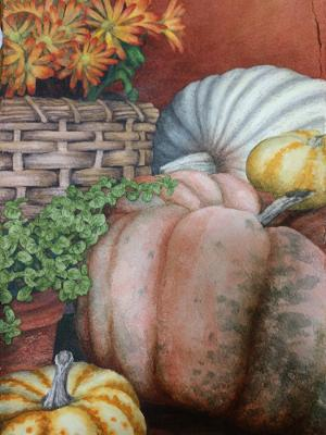 """Pumpkins on the Porch"" by Lori Sutphin - Watercolor"