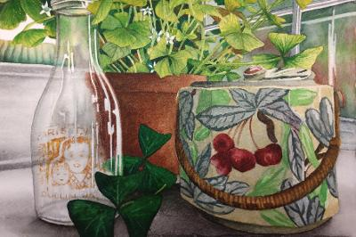 """Shamrocks and Cherries"" by Lori Sutphin - Watercolor"