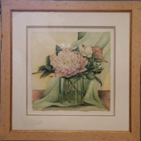 """Peonies in Glass"" by Lori Sutphin - Watercolor"