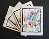 Handmade Note Cards 4 Pack (Pink and Blue Watercolor Floral)