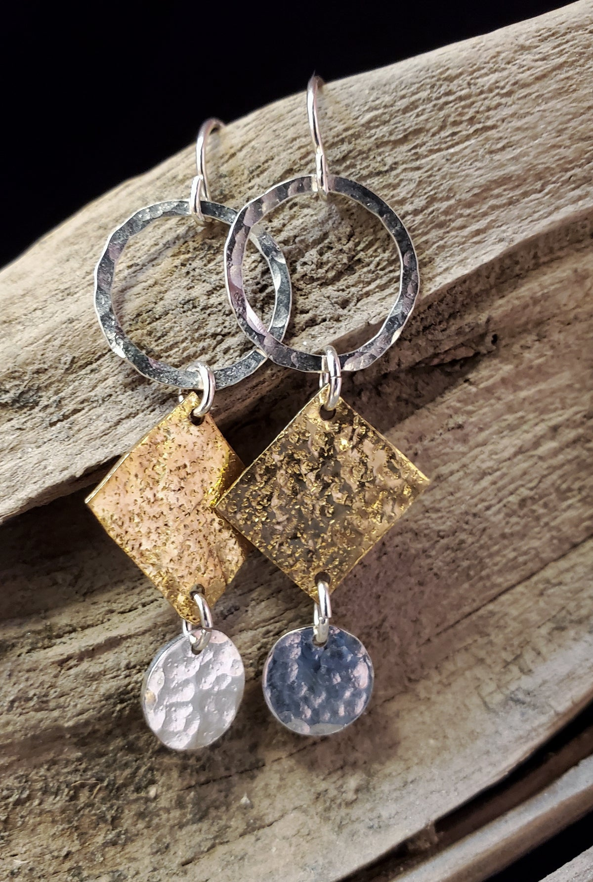 Hammered Sterling and Brass Earrings