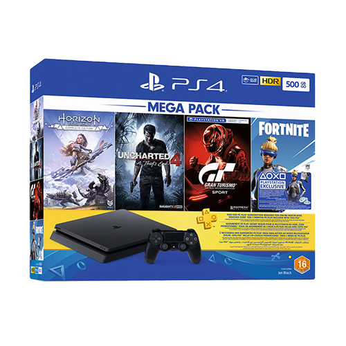 Sony PlayStation 4 500 GB Mega Pack Gaming Console + 4 Free Games & PlayStation Plus