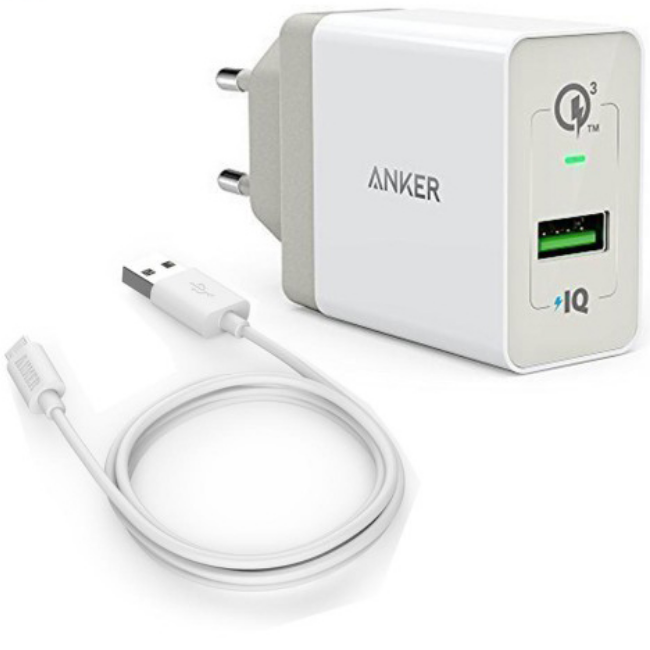 ANKER Wall Charger PowerPort 2 & 3ft Micro USB White