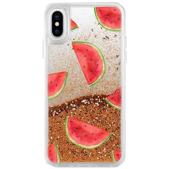 Casetify Glitter Case Rose Gold Watermelon Shuffle For iPhone X