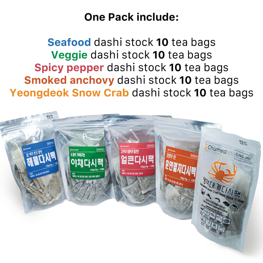 Sungjin Charmeal Premium Korean Umami Flavor 100% Natural Dashi T-Bag for Cooking Healthy Soups, Stocks, Stews, Noodles, Bouillon T-Bag (NO MSG) 5 Variety Pack Gift Set