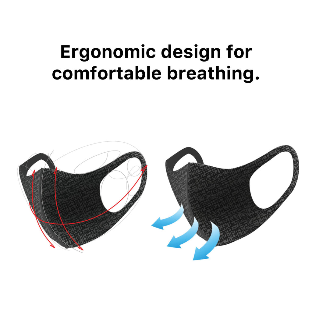 Graphene Phytoncide Deodorizing Fragrance Comfortable Breathable Reusable, Washable Cloth Fabric 3D Korean Fashion Face Mask Peach w/ Lines 3 PACK