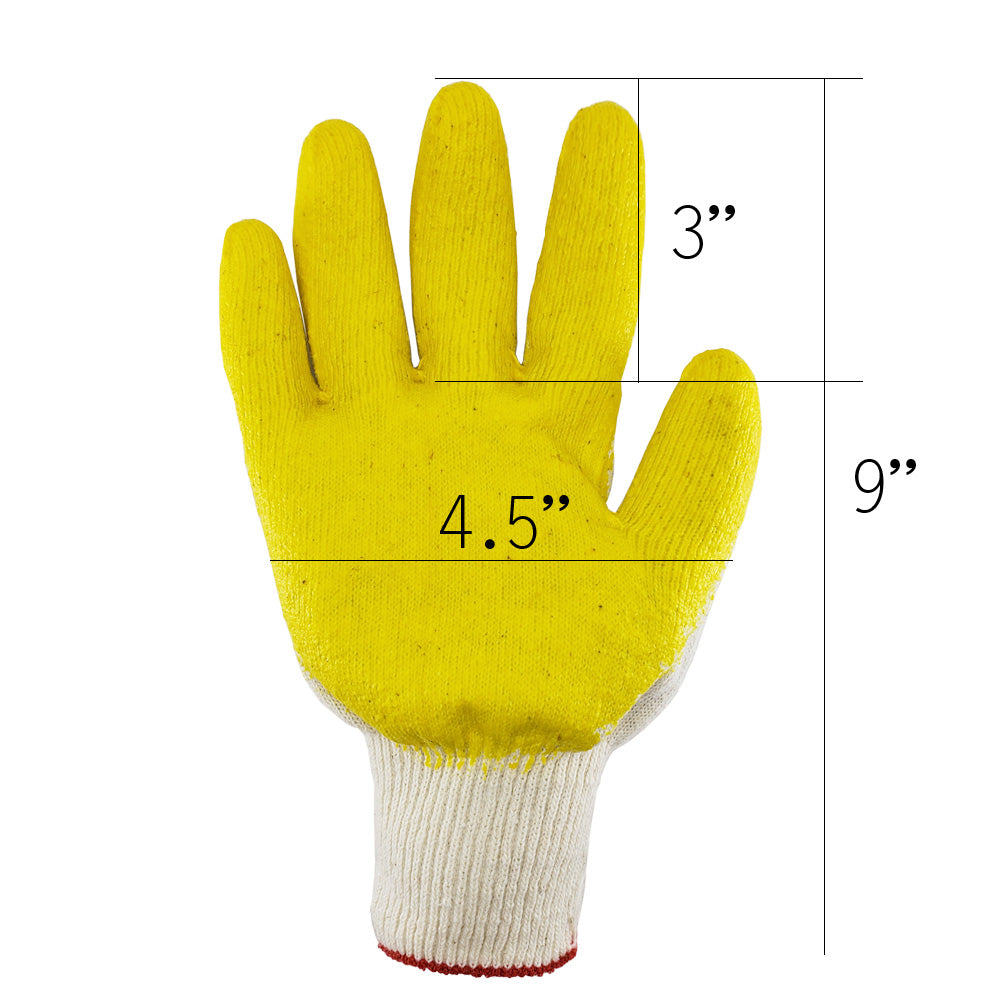 [The Elixir] String Knit Palm, Yellow Latex Dipped Nitrile Coated Work Gloves for General Purpose, Safety Working Gloves