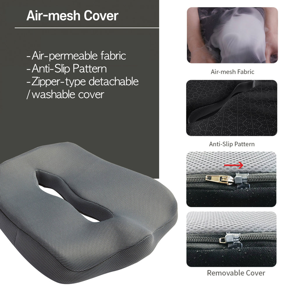 Ari-Zone Memory Foam Air Mesh Cover Seat Cushion For Posture Correction, Healthy Back Comfort - Ideal For Driving, Office Workers, Students