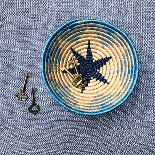 blue star African woven basket bowl