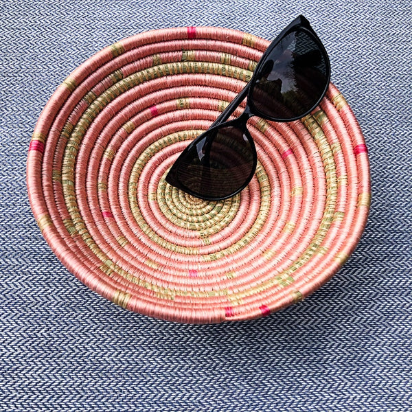 pink African woven bowl basket