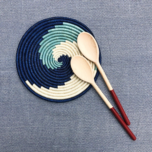 Woven African Trivet | Blue Wave Design