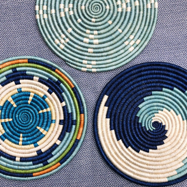 Colorful African trivet coasters