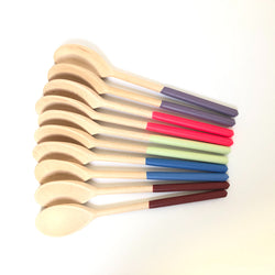 colorful wood salad scoops