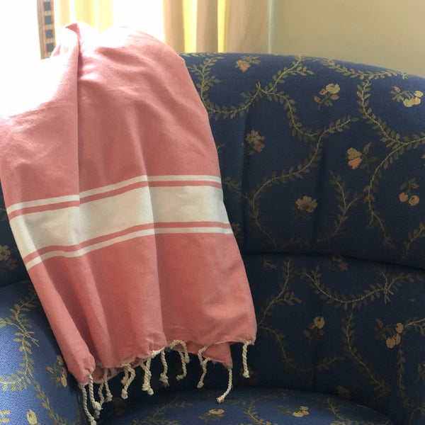 turkish towel throw coral salmon pink