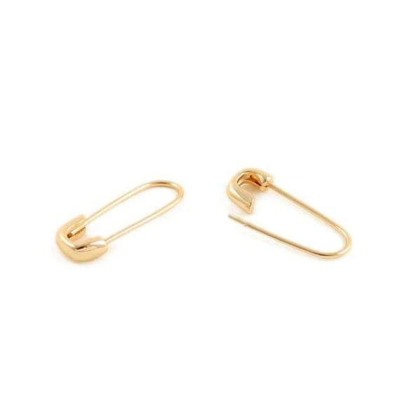 Safety Pin Earrings in Gold