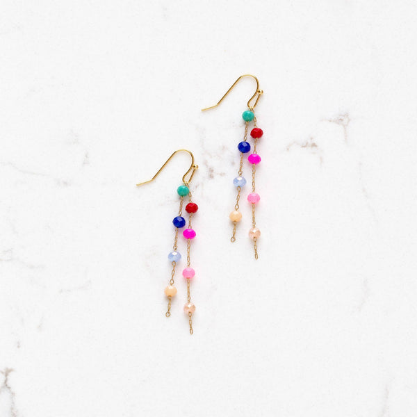 colorful beaded dangly earrings